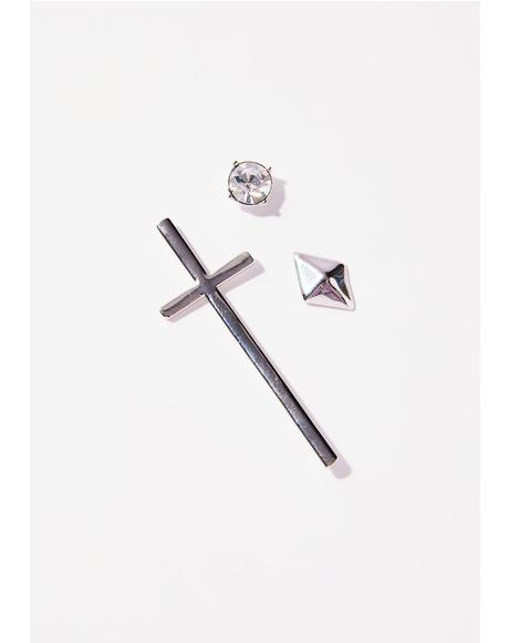 Cross Your Mind Mismatch Earring Set