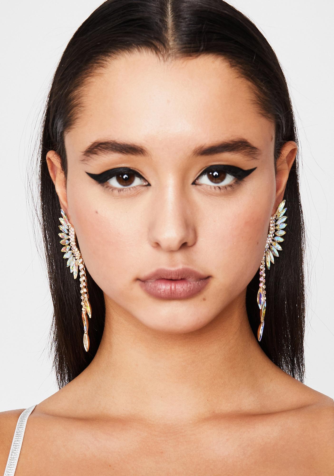 Golden Goddess Glam Wing Earrings