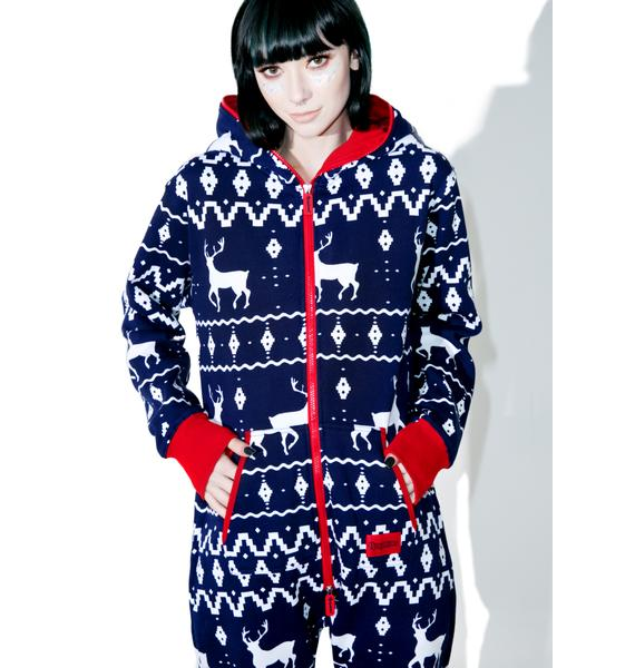 Tipsy Elves Blue Fair Isle Jumpsuit