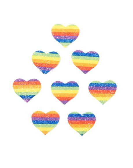 Rainbow Glitter Heart Body Stickers