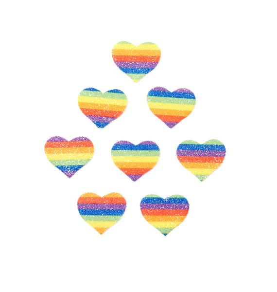 Pastease Rainbow Glitter Heart Body Stickers