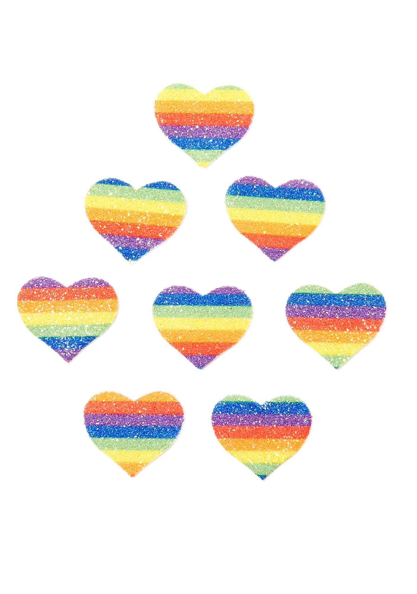 Pastease Rainbow Glitter Heart Body Stickers
