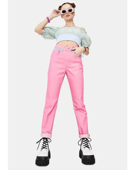 Dolly Pink Overdyed Mom Jeans