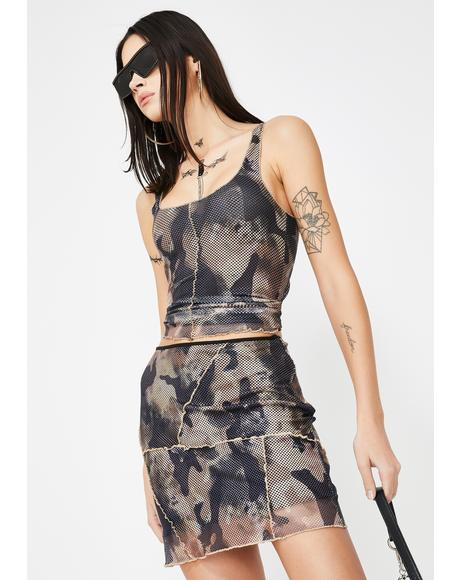 Elara Camo Mini Skirt