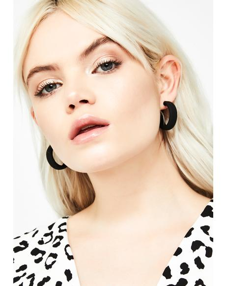 Onyx Sneaky Sass Hoop Earrings