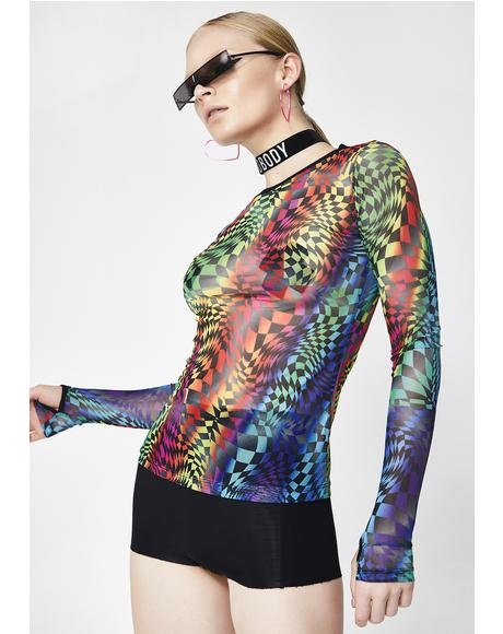 Psytrance Long Sleeve Mesh Top
