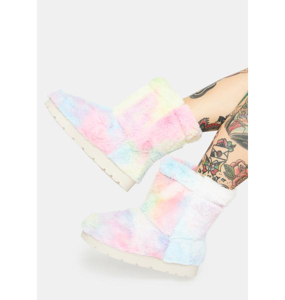 Cotton Candy Better Believe It Furry Boots