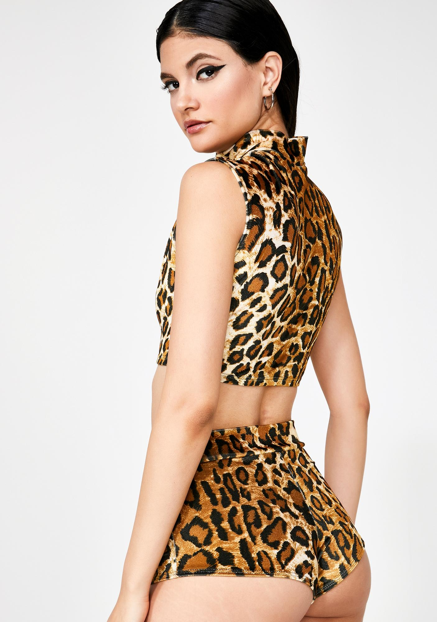 b433822a2a Sugarpuss Leopard Velvet High Waist Cheeky Shorts | Dolls Kill