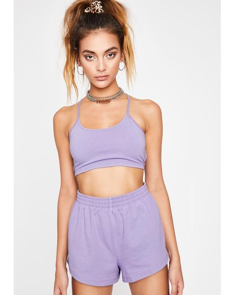 Lilac Simple Slay Knit Shorts