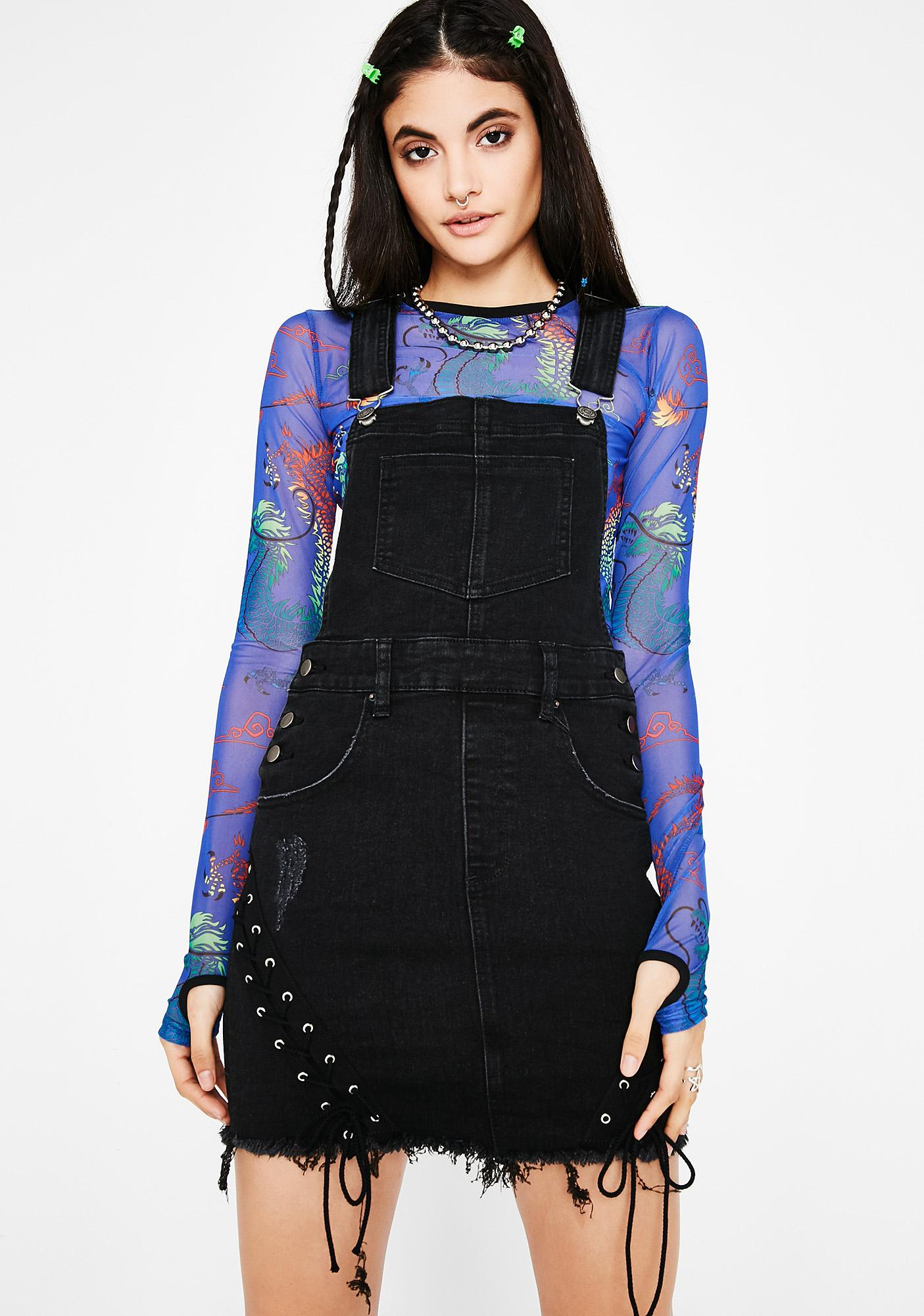 Tongue Tied Skirt Overalls