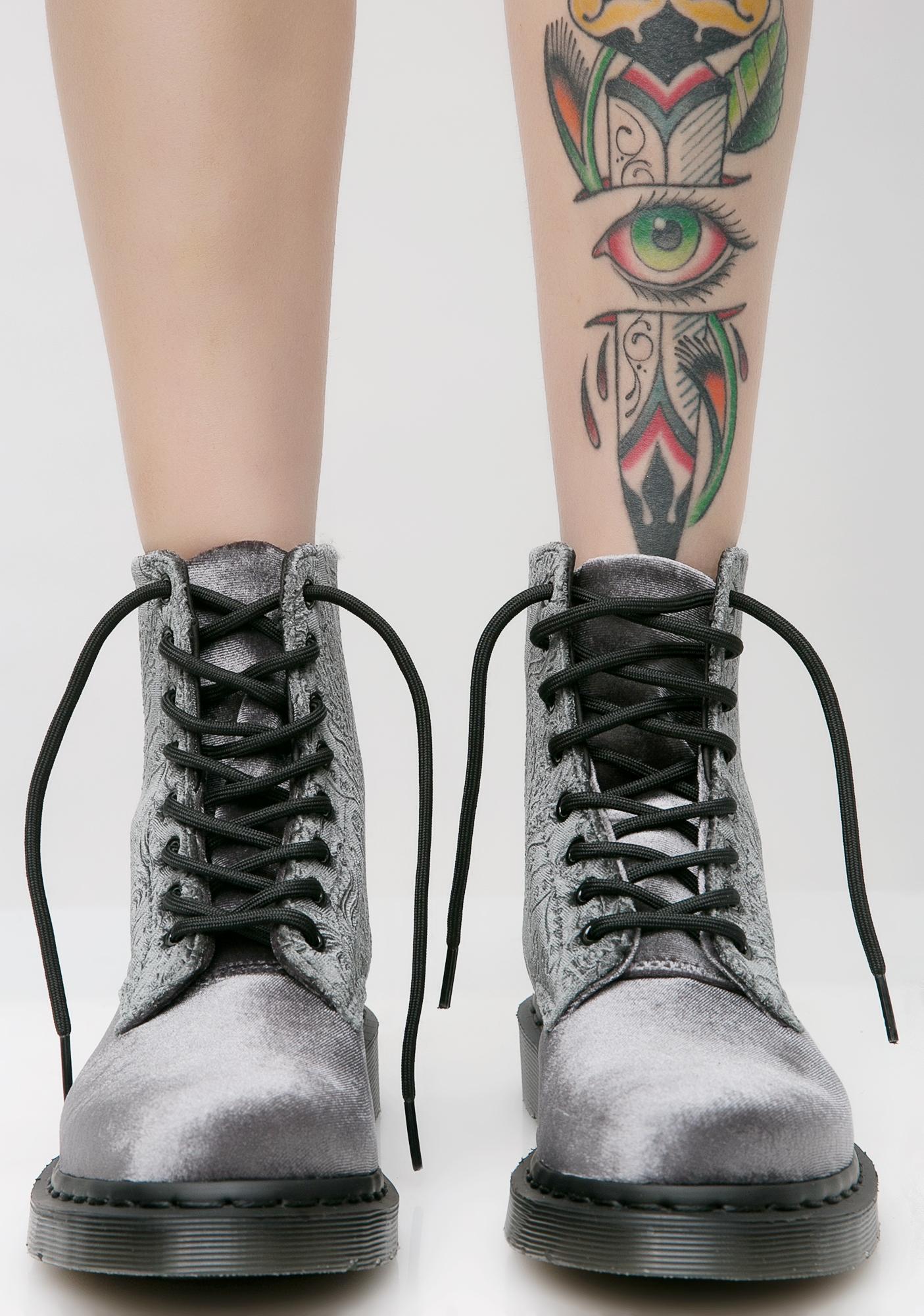 Dr. Martens Gray 1460 Brocade 8 Eye Boots