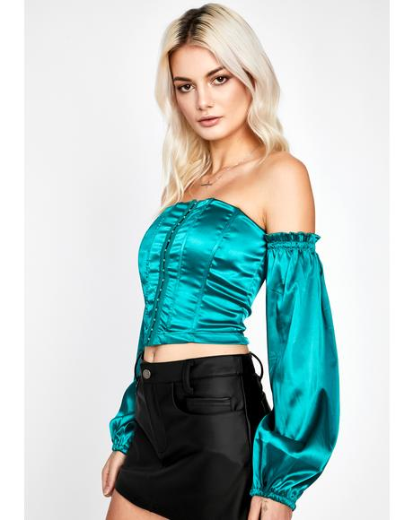 Jade Above Average Satin Corset