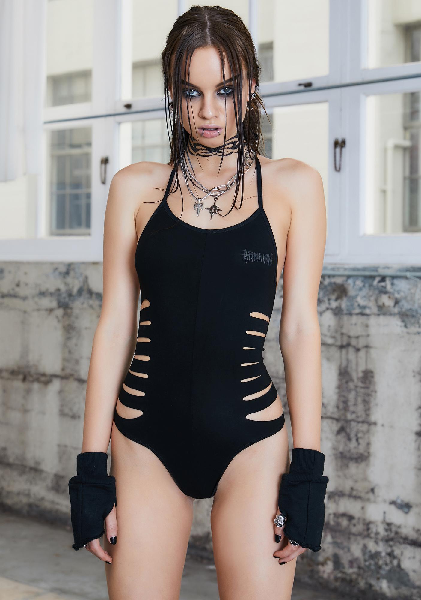 DARKER WAVS Kickdrum Distressed Halter Bodysuit