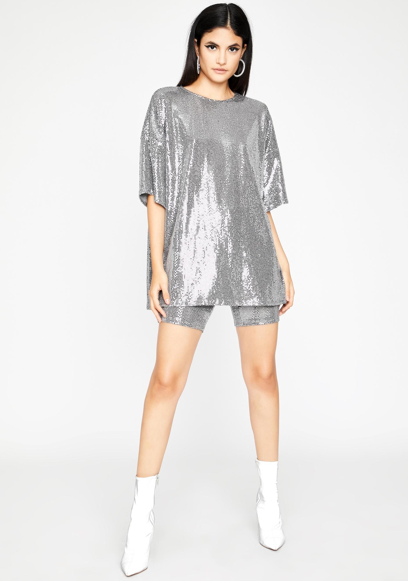 Shiny Stuntin' Sequin Shorts Set