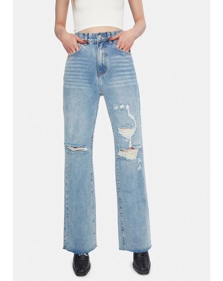 Vintage Wash Distressed Wide Leg Jeans