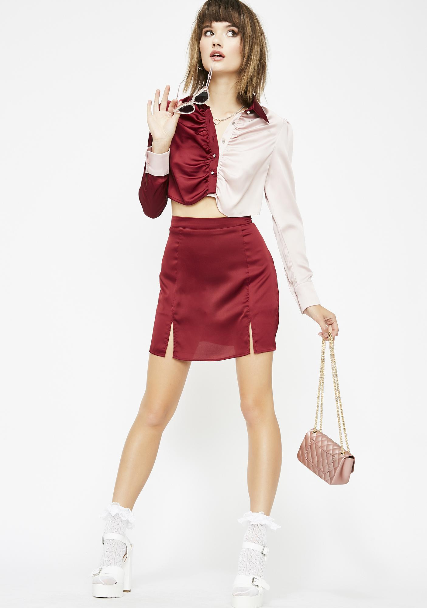 Saucy Lady Satin Skirt