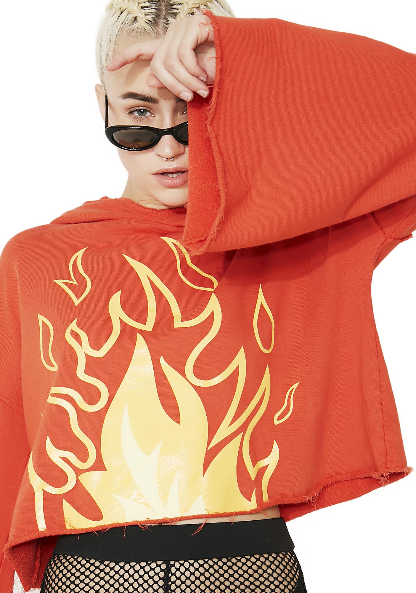 MeYouVersusLife Flame Cropped Hoodie