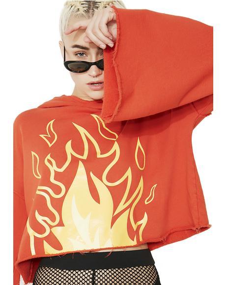 Flame Cropped Hoodie