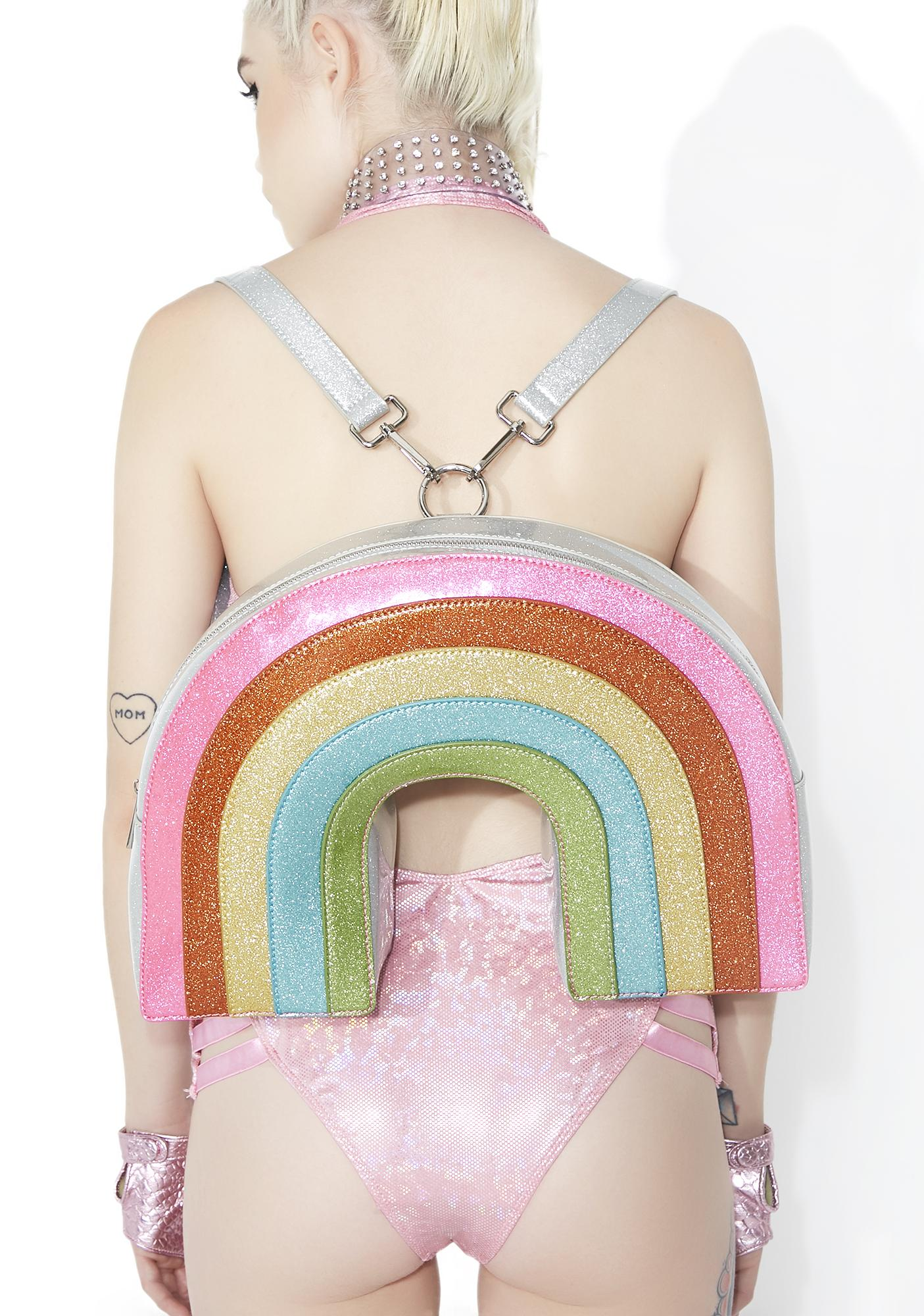 Club Exx Neon Sparkle Rainbow Backpack