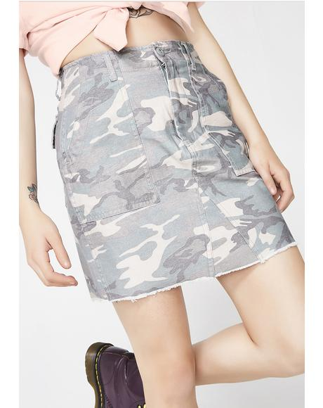 Lucky Thirteen Washed Camo Skirt