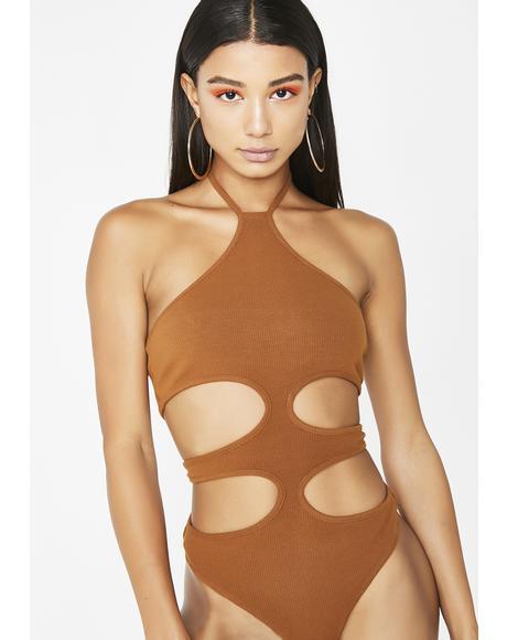 Mocha Keeping Secrets Cutout Bodysuit