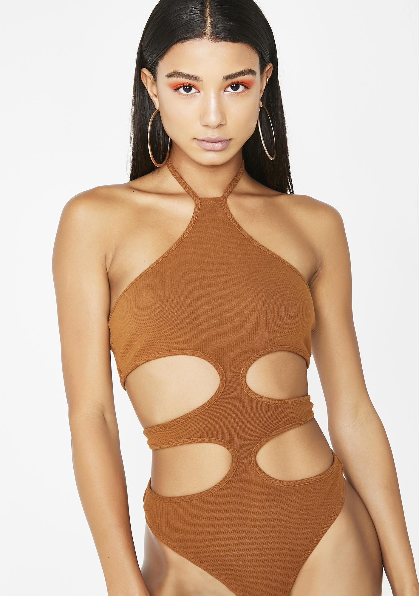 Mocha Keeping Secrets Cutout Bodysuit