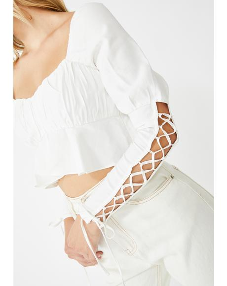 Heavenly Serenity Lace-Up Blouse