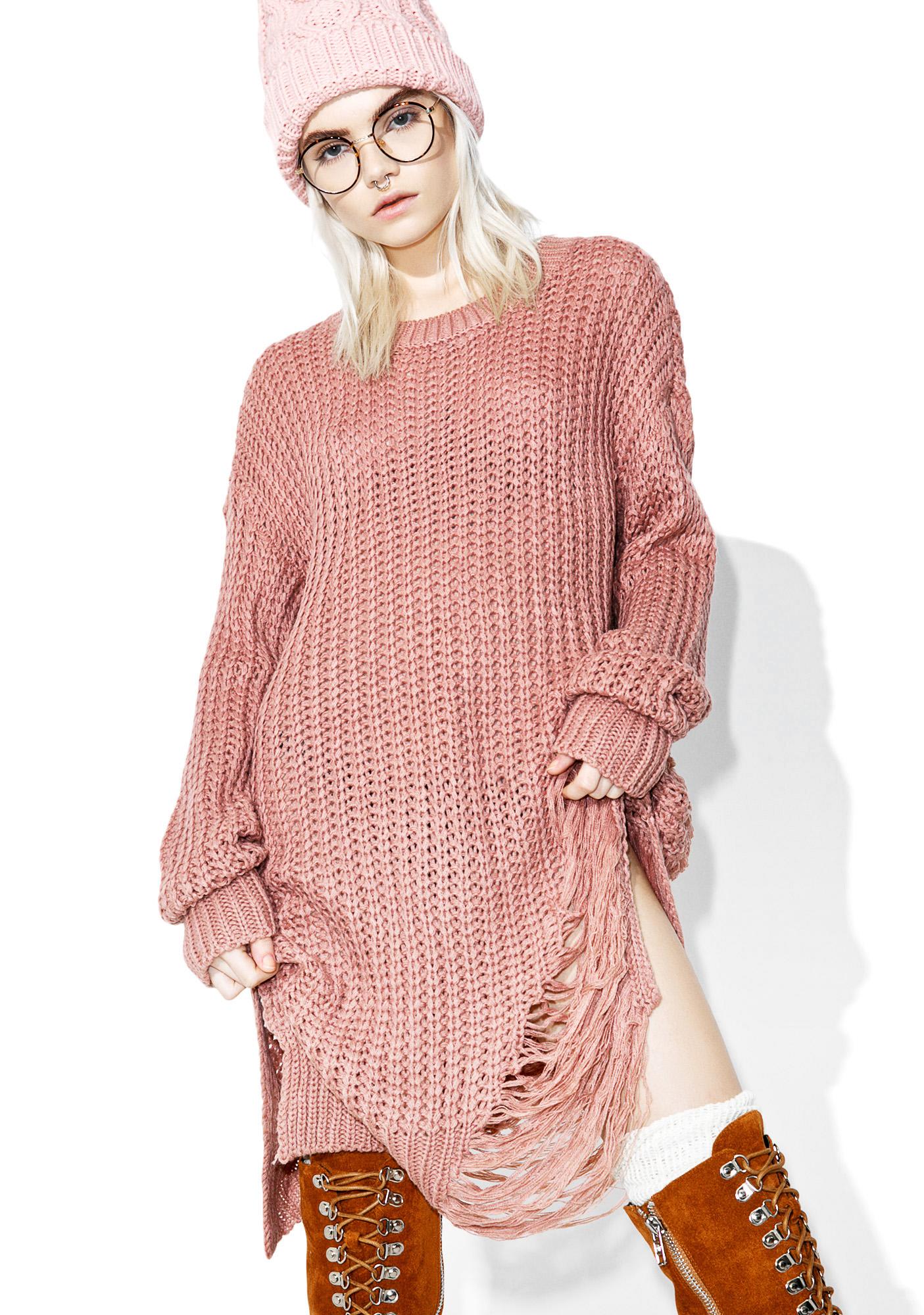 Mauve Distressed Knit Sweater