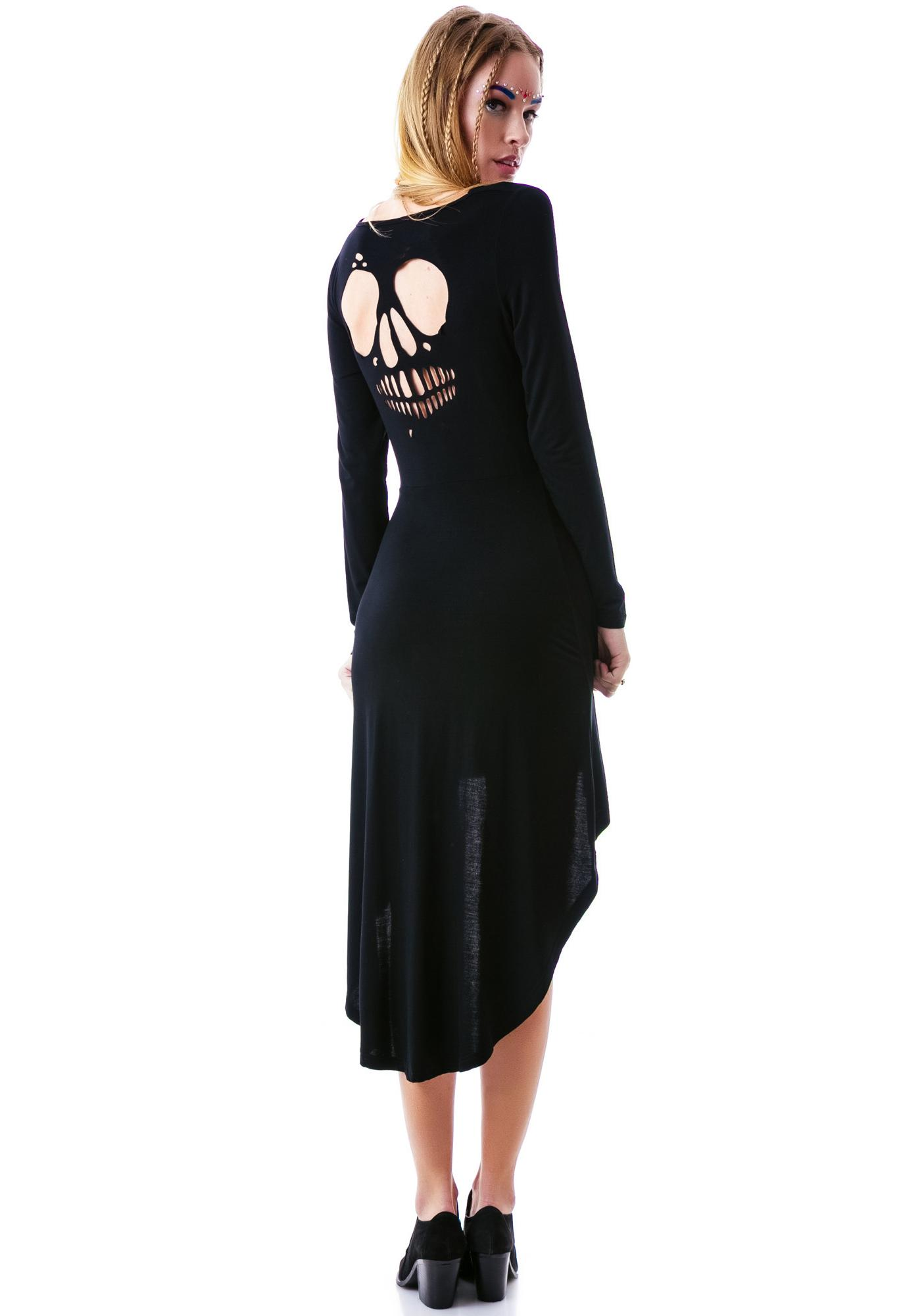 Sourpuss Clothing In My Skull Cutout Hi Low Dress