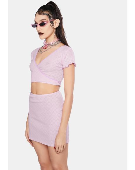 Pink Heart Cut Out Jersey Wrap Top