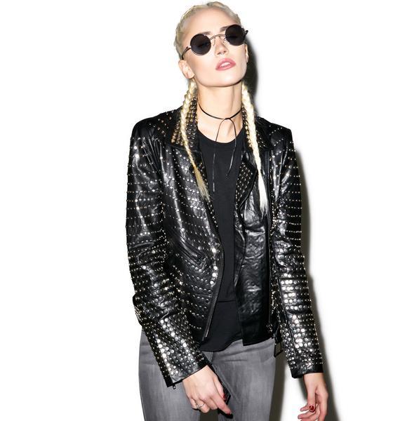 Nia Nail Head Leather Jacket