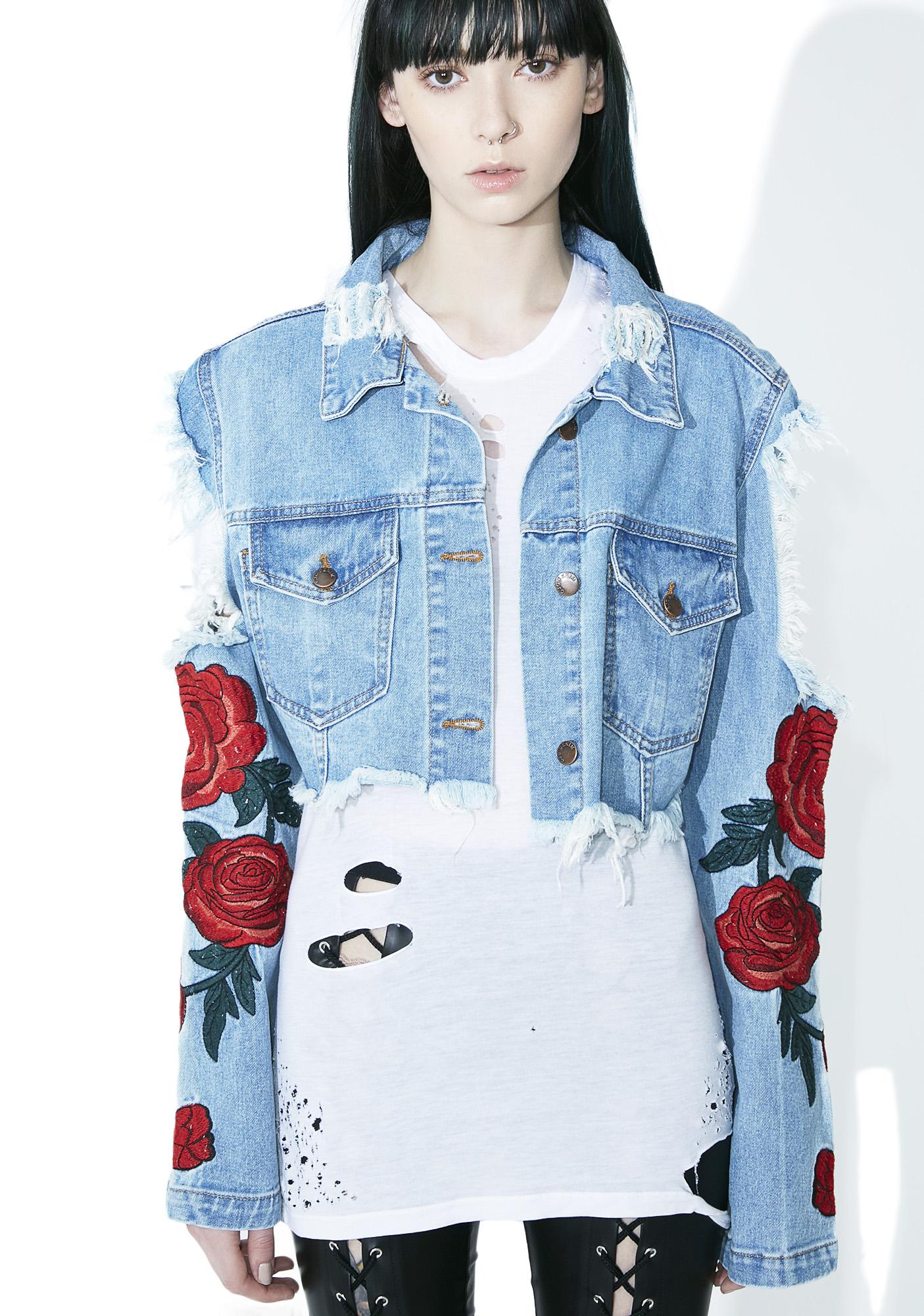 Roses Distressed Denim Jacket
