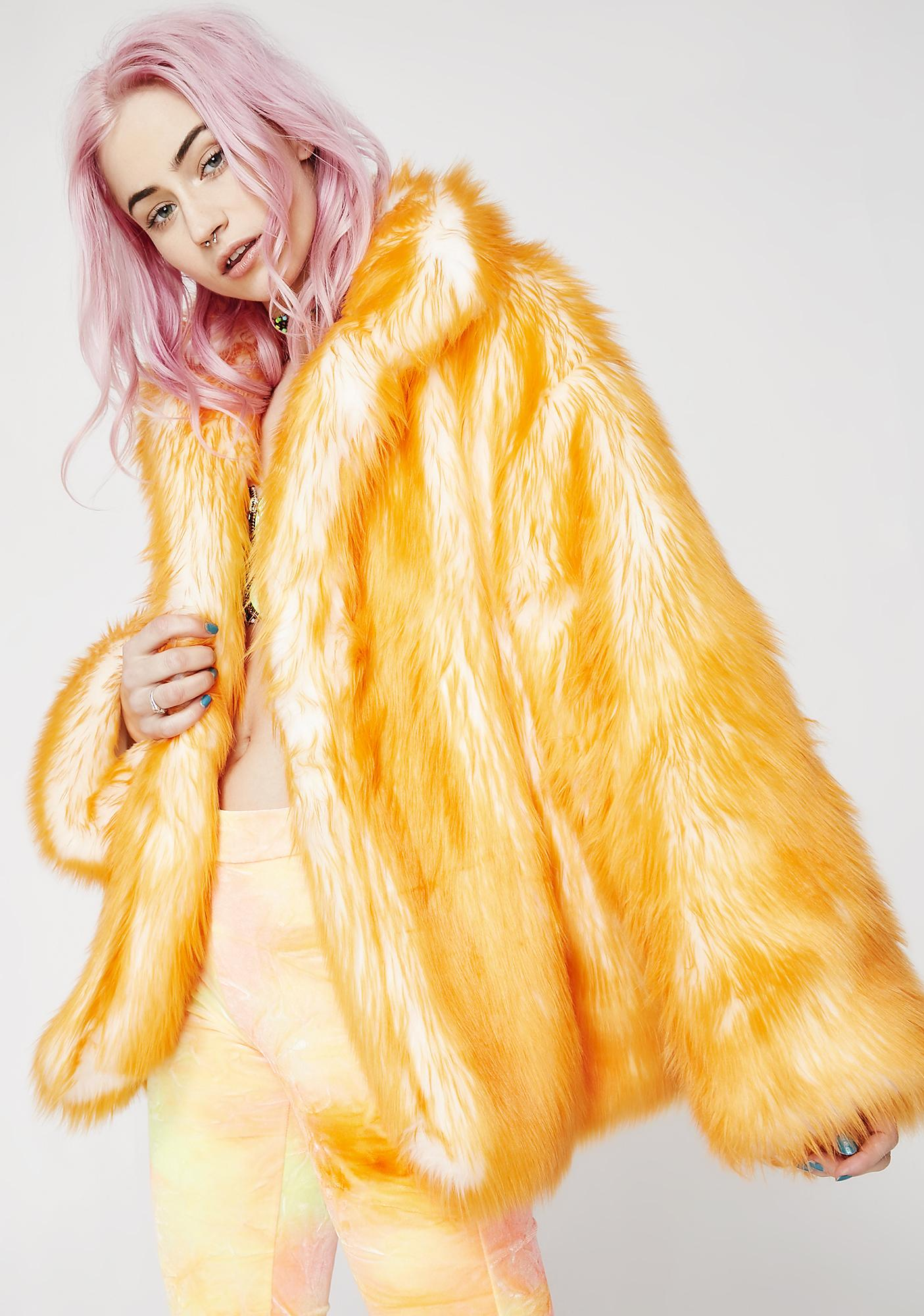 J Valentine Tangerine Hip-Length Coat