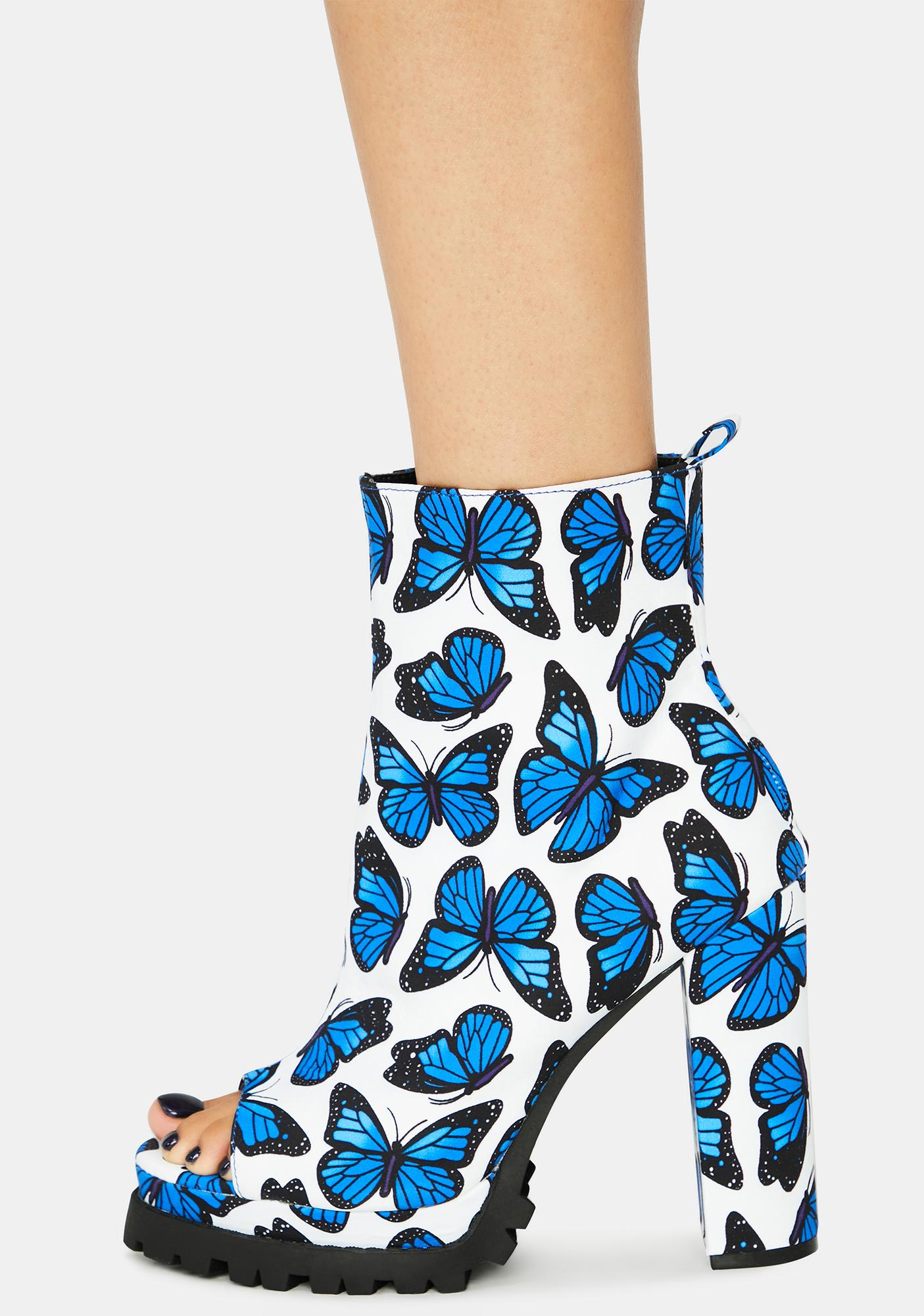 Aqua Butterfly Downtown Dive Peep Toe Heels