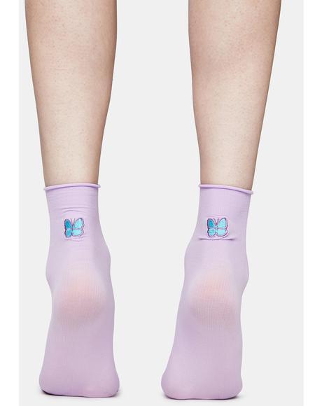 Lilac Flutter Fever Butterfly Crew Socks