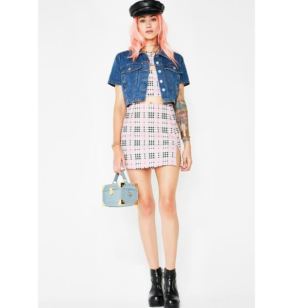 Motel Pink Check Pelmet Skirt