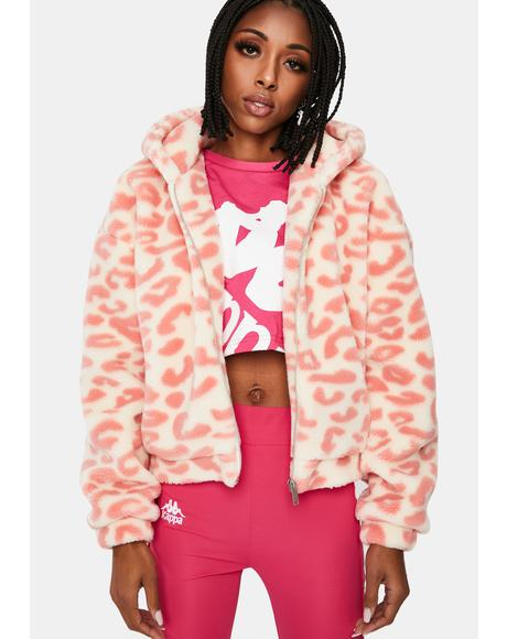 Blush Simple Things Leopard Sherpa Jacket