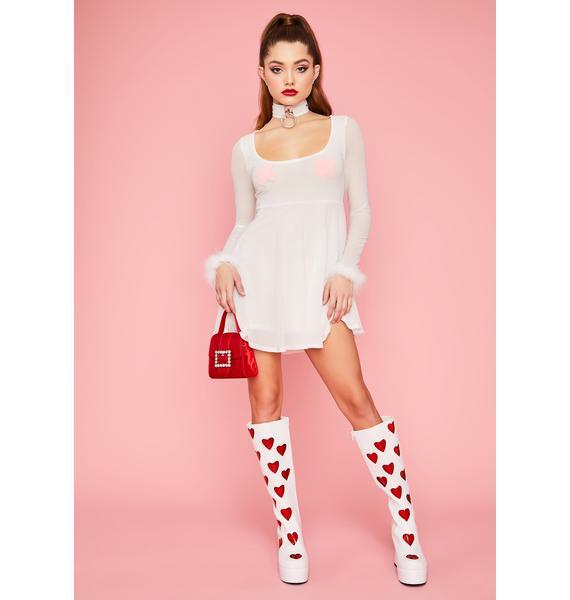 Pure Flirty Lifestyle Marabou Flare Dress