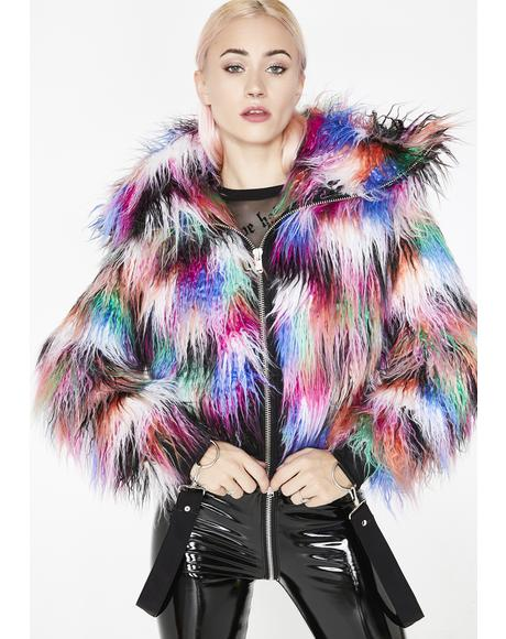 Dark Galaxies Faux Fur Jacket