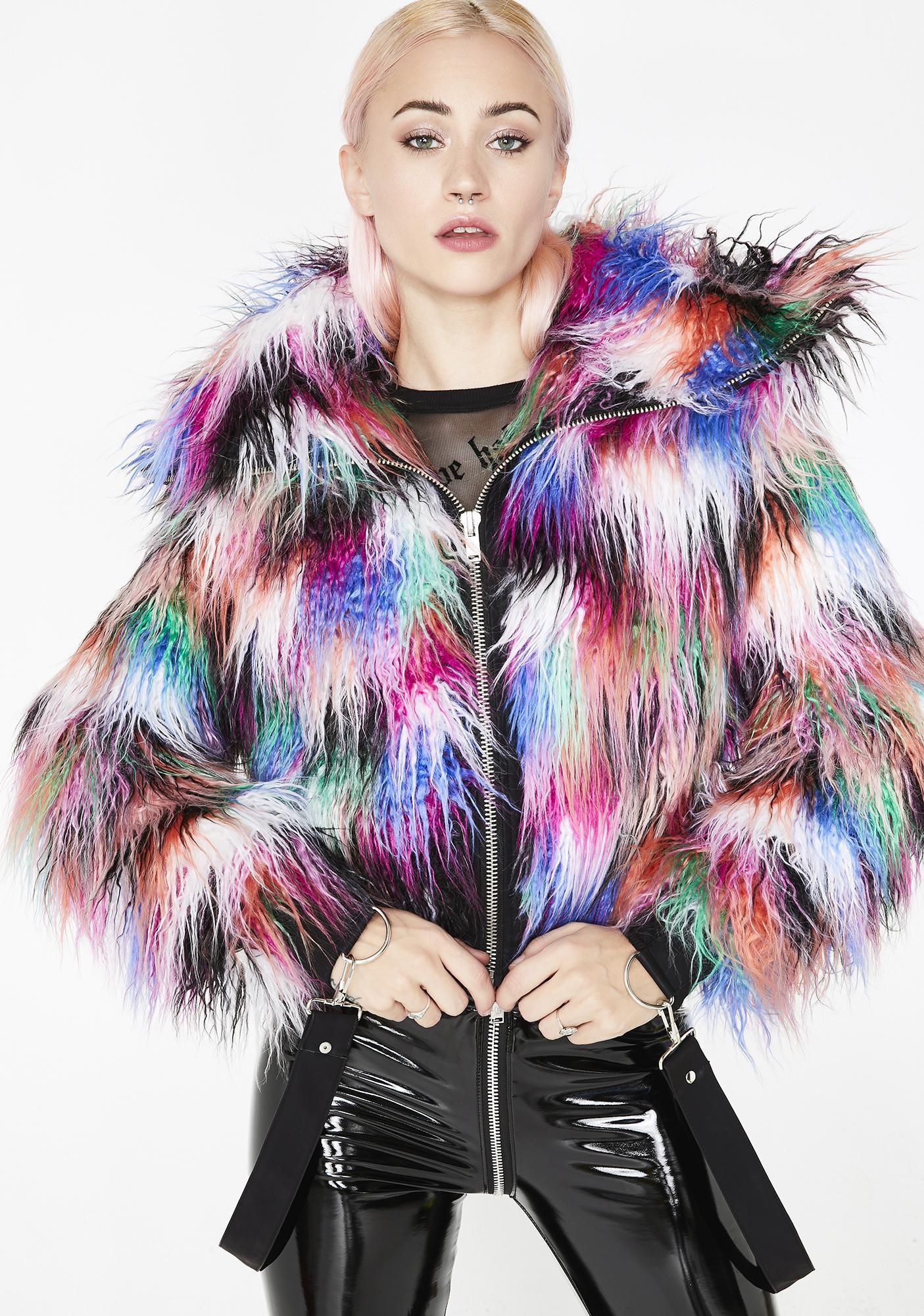 87a358b84477 Current Mood Dark Galaxies Faux Fur Jacket | Dolls Kill