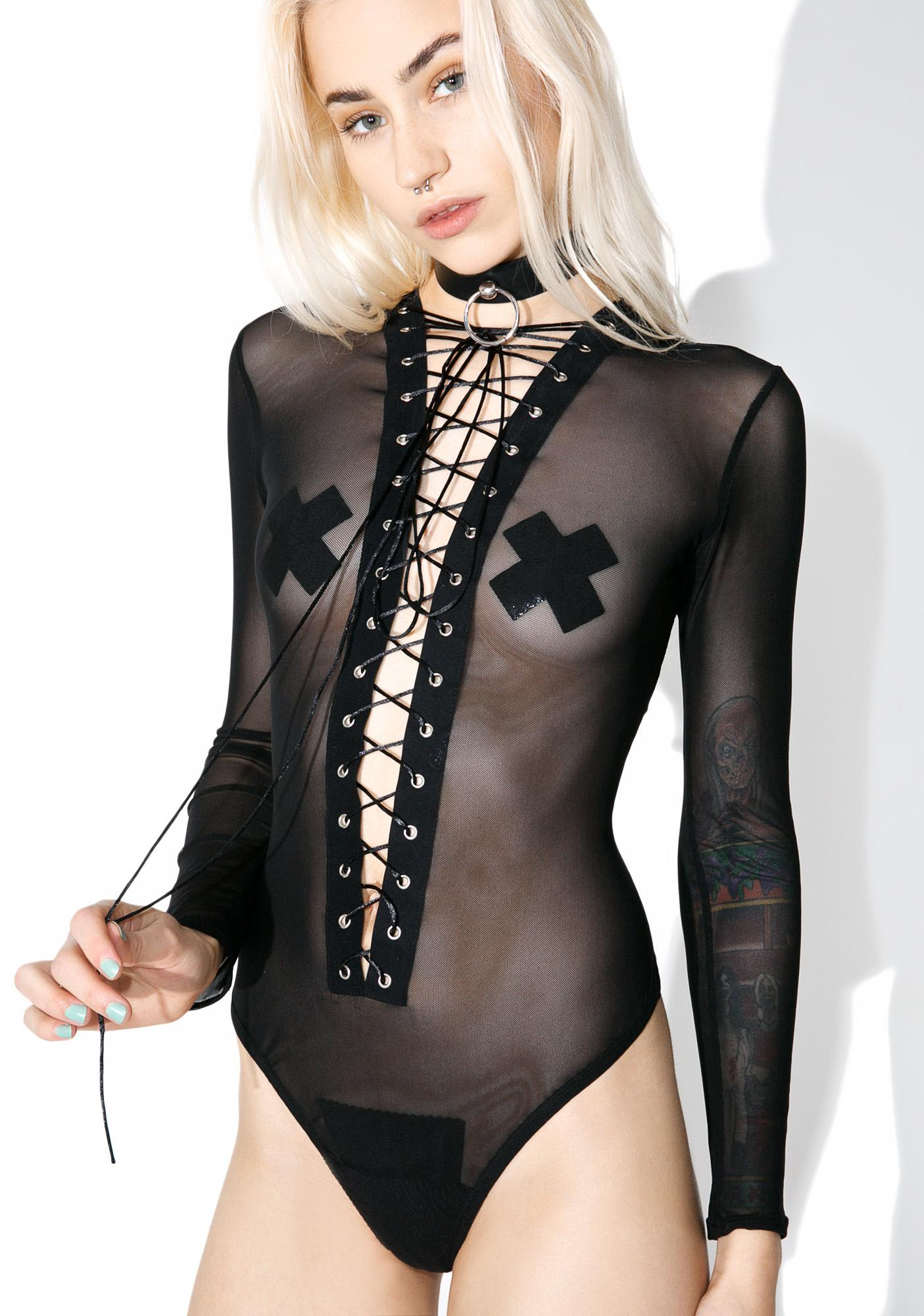 Out Come The Wolves Lace-Up Bodysuit