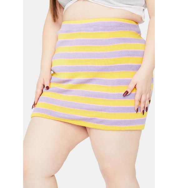 NEW GIRL ORDER Curve Stripe Knitted Mini Skirt
