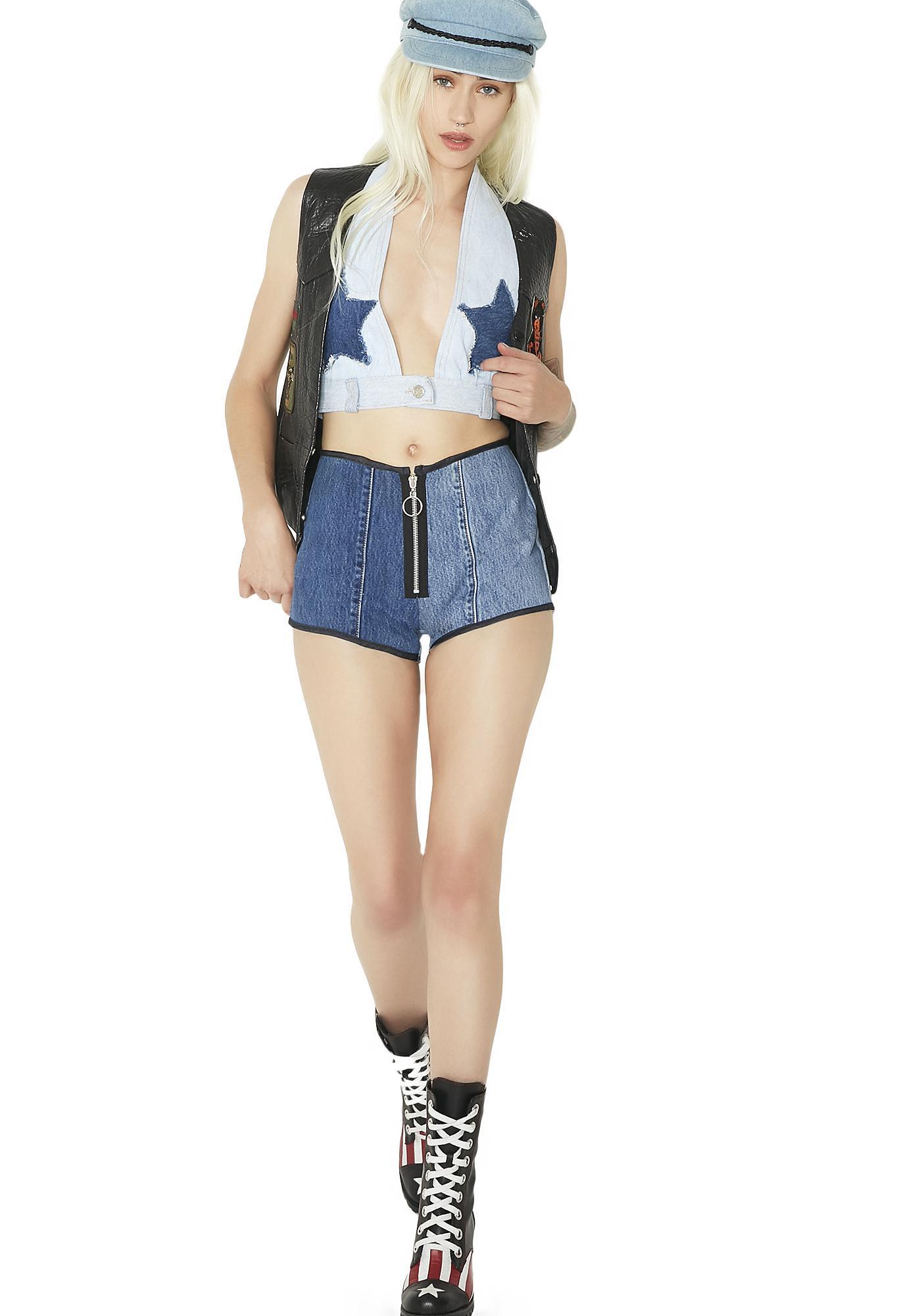 American Vintage Zipper Patchwork Shorts