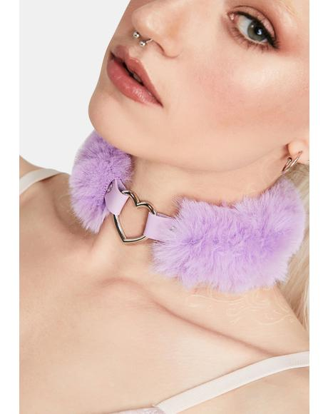 Purple Fluffy Heart Choker