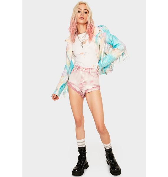 Glamorous Pink Acid Wash Denim Shorts