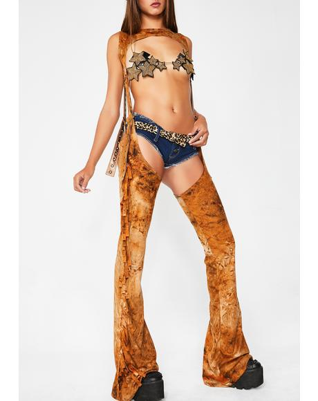 Desert Dimension Harness Fringe Chaps