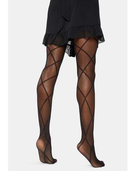 Diamond Print Sheer Tights