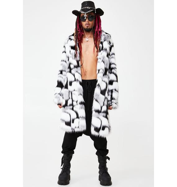 Club Exx Lone Wolf Faux Fur Coat