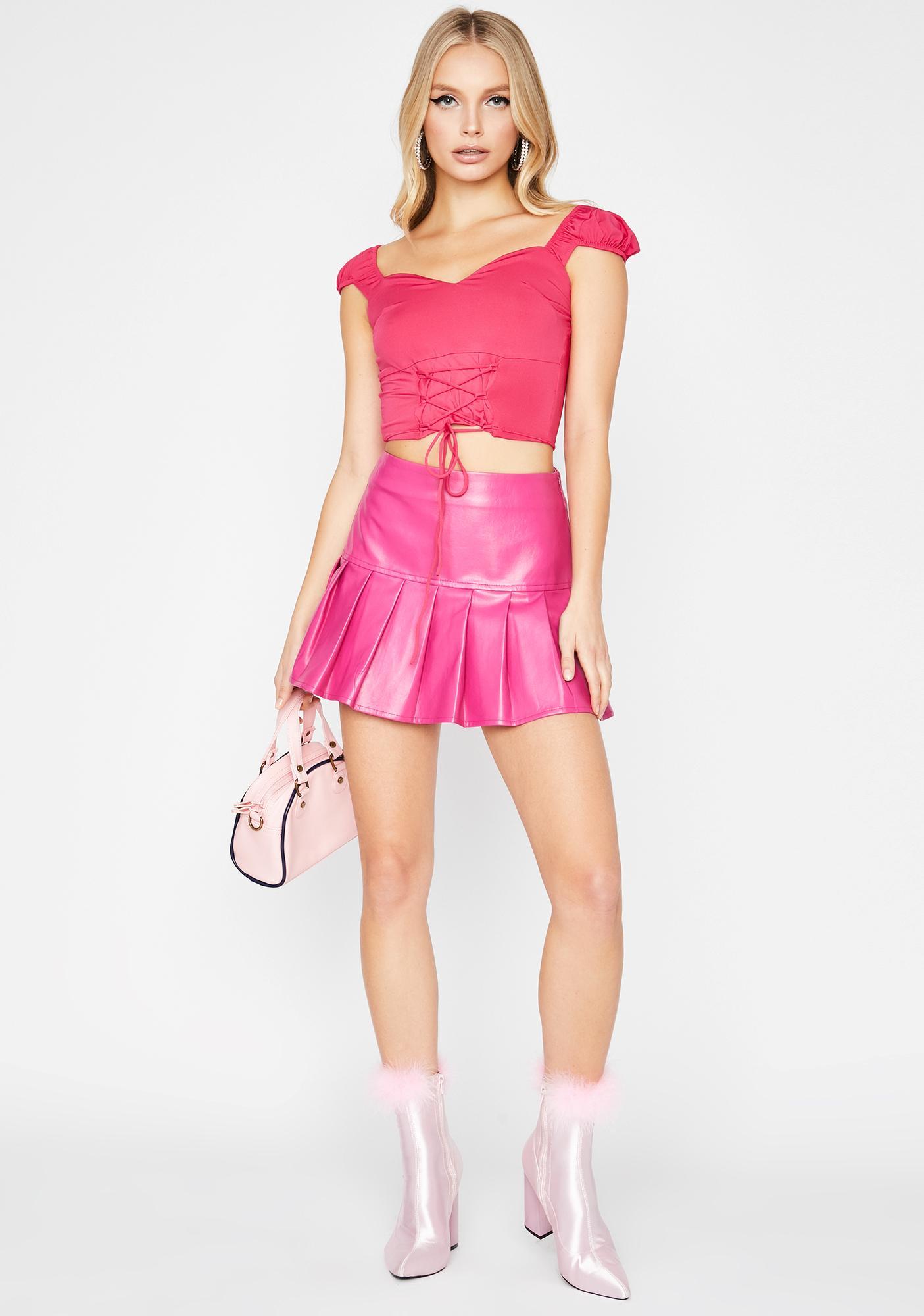 Sweet Trendy Heaux Lace-Up Top