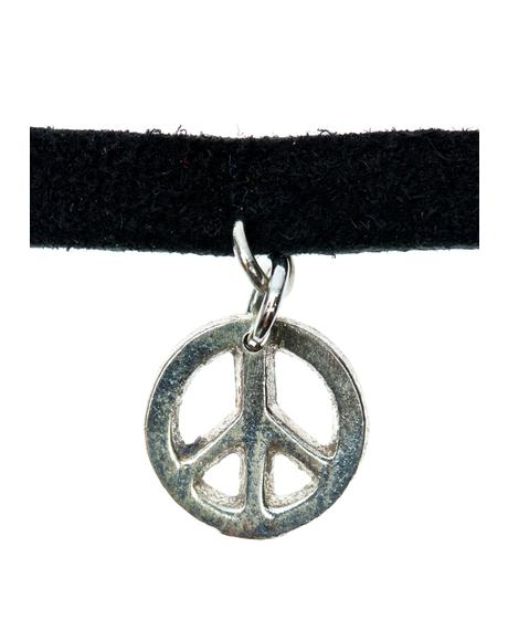 Black Leather Peace Symbol Choker